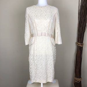 TAYLOR   Cream Lace Belted 3/4 Sleeve Sheath Dress